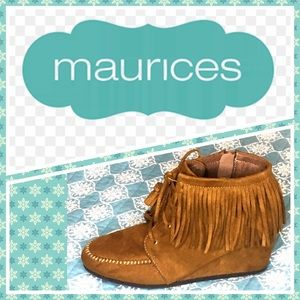 Maurices Brown tan tassel wedge shoe